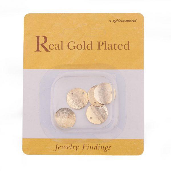 d5dcaebd5f21ad4c7a818b71be786e8a Real 18K Gold Plated Brass Flat Round Charms, Nickel Free, 15x0.5mm, Hole: 1mm, 5 pcs/ bag
