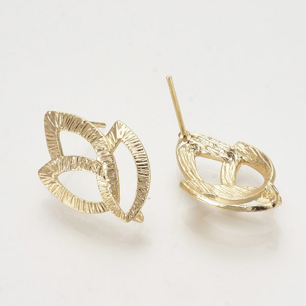 dacdfe40e2ce5fe46ba576dec8cafc66 Real 18K Gold Plated Brass Leaf Earring Studs with Loop, Nickel Free, 22x14.5mm, Hole: 2mm; Pin: 0.8mm, 2 pcs/ bag