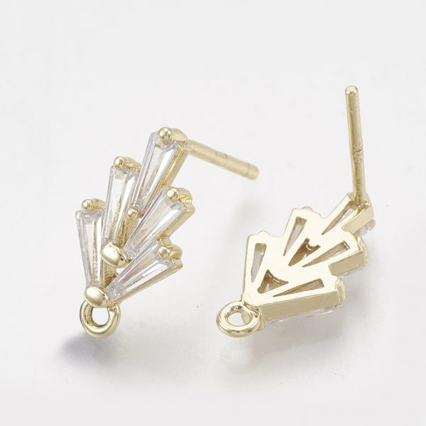 de64725110fc650af9863f00847537bc Real 18K Gold Plated Brass Earring Studs, Cubic Zirconia Charms, with Loop, Nickel Free, 14.5x7.5mm, Hole: 1mm; Pin: 0.5mm, 2 pcs/ bag