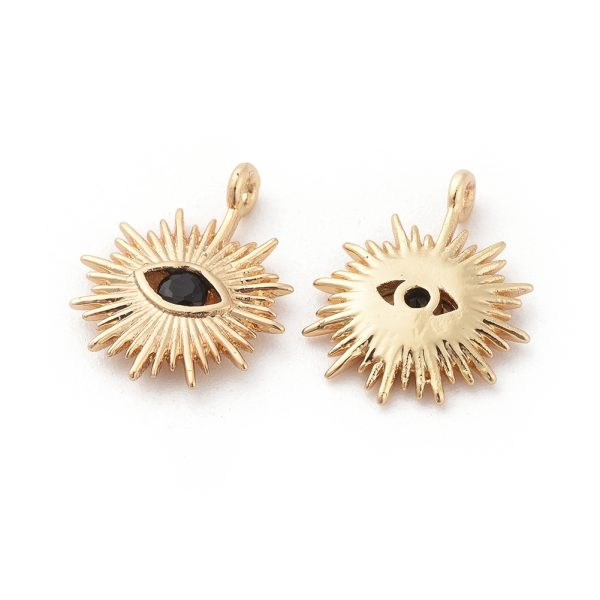 e22eacd79c1e0294f88e721877deab08 1 Real 18K Gold Plated Brass Eye Charms, with Cubic Zirconia, Black, 14x12x2mm, Hole: 1mm, 5 pcs/ bag