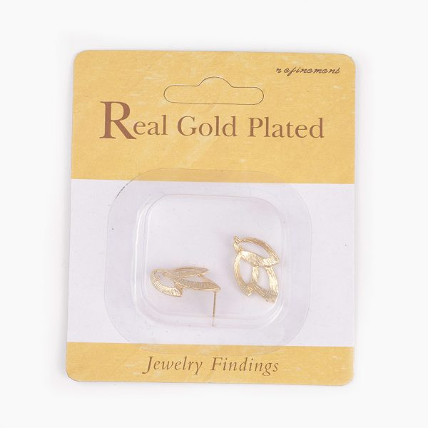 e4c7afa5812625c50640b3533e10fea4 Real 18K Gold Plated Brass Leaf Earring Studs with Loop, Nickel Free, 22x14.5mm, Hole: 2mm; Pin: 0.8mm, 2 pcs/ bag