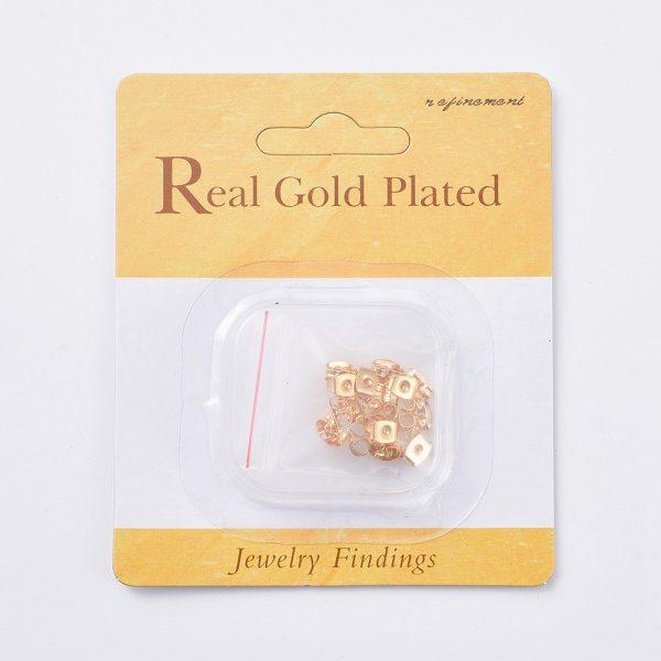e7e9d5ca5898b6b6217ddac9318fab62 Real 18K Gold Plated Brass Ear Nuts, Earring Backs, Nickel Free, 5x3.5x2.5mm, Hole: 0.8mm, 20 pcs/ bag