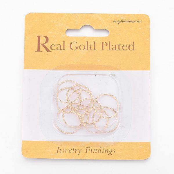 f22a49708b7828b18cfe2ba6a2116e29 Real 18K Gold Plated Brass Soldered Linking Rings, Nickel Free, 18x1mm; Inner Diameter: 16mm, 10 pcs/ bag