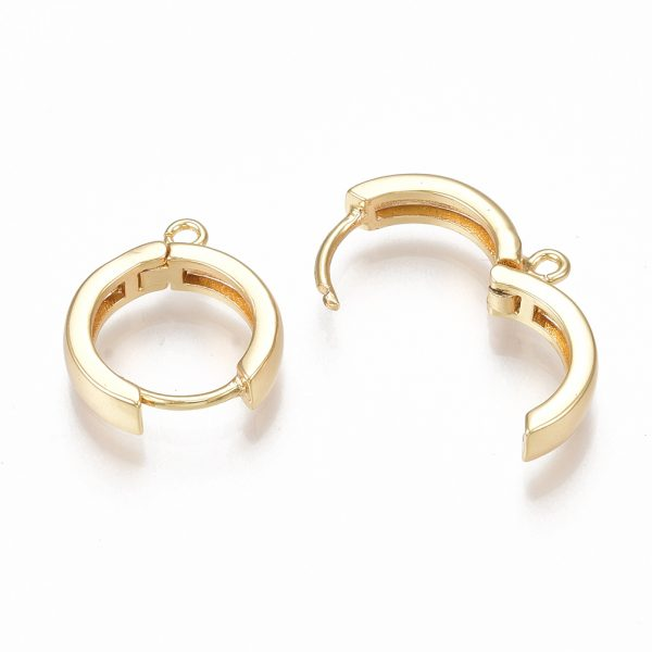 f9fa8fd9c8d94a291ea8652b38158038 Real 18K Gold Plated Brass Huggie Hoop Earring Findings, Nickel Free, 16.5x14.5x3.5mm, Hole: 1.5mm; Pin: 1mm, 2 pcs/ bag