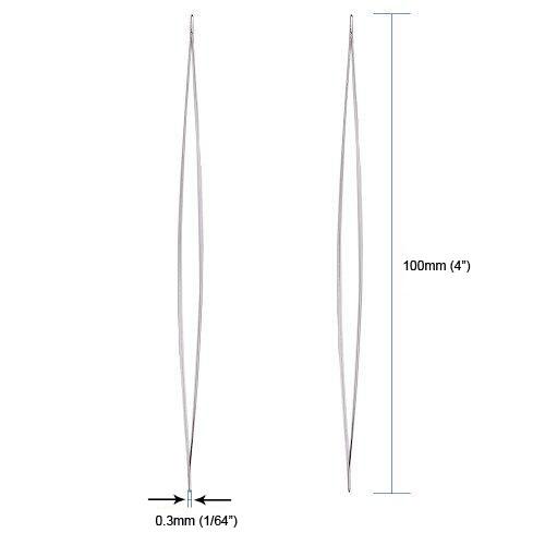 "100mm 4 Big Eye Beading Needles Work with Miyuki & Toho Seed Beads, 0.3mm (1/64"") Fine, 4 in (100mm), Set of 10."