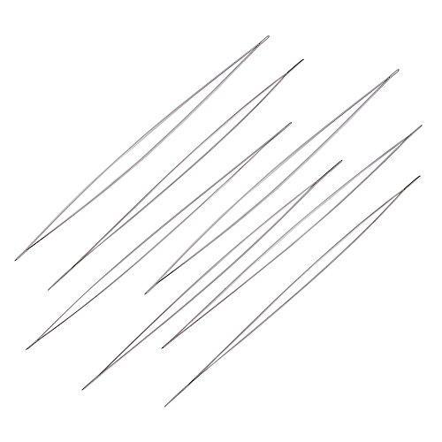 "Big Eye Beading Needles Work with Miyuki & Toho Seed Beads, 0.3mm (1/64"") Iron, 4 29/64 in (113mm), Set of 10"