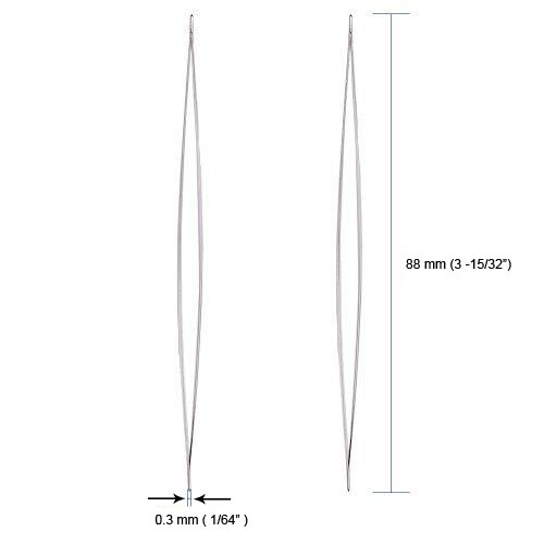"88mm3 15 32 Big Eye Beading Needles Work with Miyuki & Toho Seed Beads, 0.3mm (1/64"") Iron, 3 15/32 in (88mm), Set of 10"