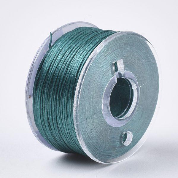 OCOR R038 19 Japanese FGB Cords Nylon String, Miyuki Elastic Beading Thread, 0.1mm Diameter, Dark Cyan, Sold per 50-yard Spool