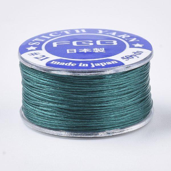 OCOR R038 19 2 Japanese FGB Cords Nylon String, Miyuki Elastic Beading Thread, 0.1mm Diameter, Dark Cyan, Sold per 50-yard Spool