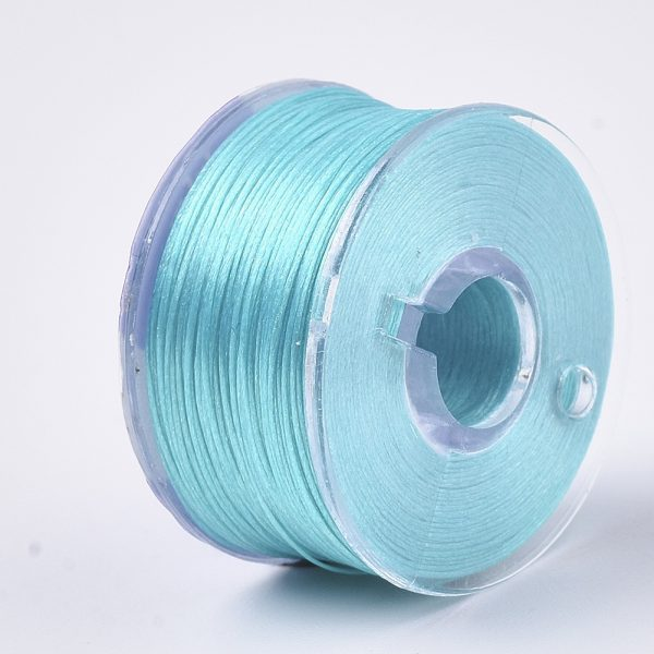 OCOR R038 20 Japanese FGB Cords Nylon String, Miyuki Elastic Beading Thread, 0.1mm Diameter, Cyan, Sold per 50-yard Spool