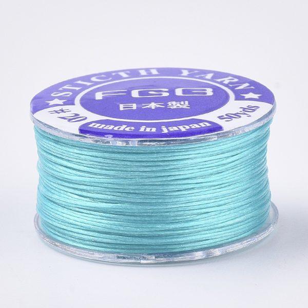 OCOR R038 20 2 Japanese FGB Cords Nylon String, Miyuki Elastic Beading Thread, 0.1mm Diameter, Cyan, Sold per 50-yard Spool