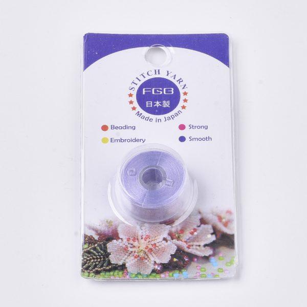 OCOR R038 22 3 Japanese FGB Cords Nylon String, Miyuki Elastic Beading Thread, 0.1mm Diameter, Lilac, Sold per 50-yard Spool