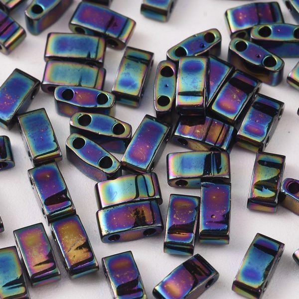 SEED J020 HTL455 1 MIYUKI HTL455 Half TILA Beads, Opaque Metallic Variegated Blue Iris, 100g/bag