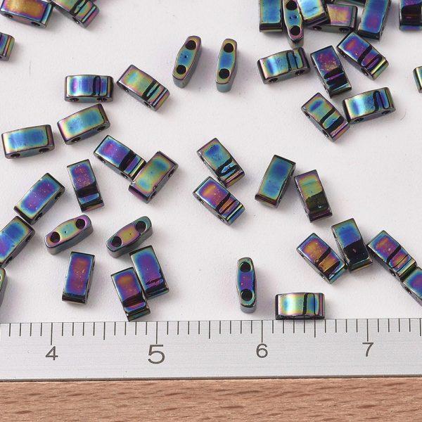 SEED J020 HTL455 2 MIYUKI HTL455 Half TILA Beads, Opaque Metallic Variegated Blue Iris, 100g/bag