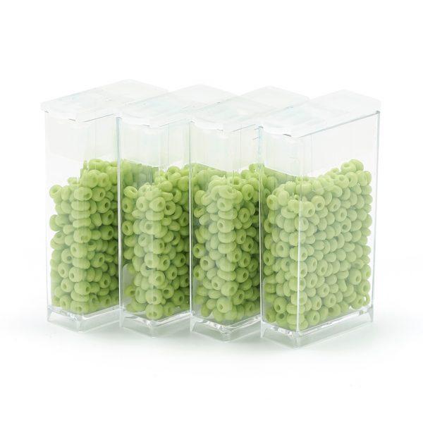 SEED R037 01 MA44 TOHO #44 Short Magatama Beads, Opaque Green Yellow, 6x5.5~5.8mm, Hole: 2mm; about 30pcs/box; net weight: 10g/box