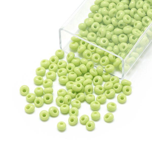 SEED R037 01 MA44 2 TOHO #44 Short Magatama Beads, Opaque Green Yellow, 6x5.5~5.8mm, Hole: 2mm; about 30pcs/box; net weight: 10g/box