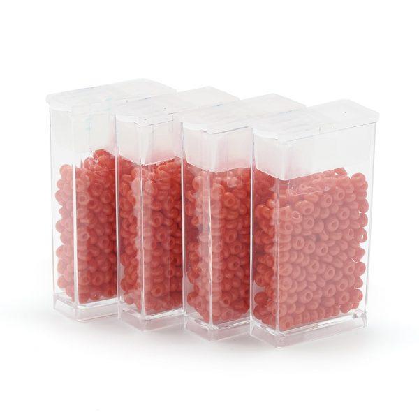 SEED R037 01 MA50 TOHO #50 Short Magatama Beads, Opaque Orange Red, 6x5.5~5.8mm, Hole: 2mm; about 30pcs/box; net weight: 10g/box