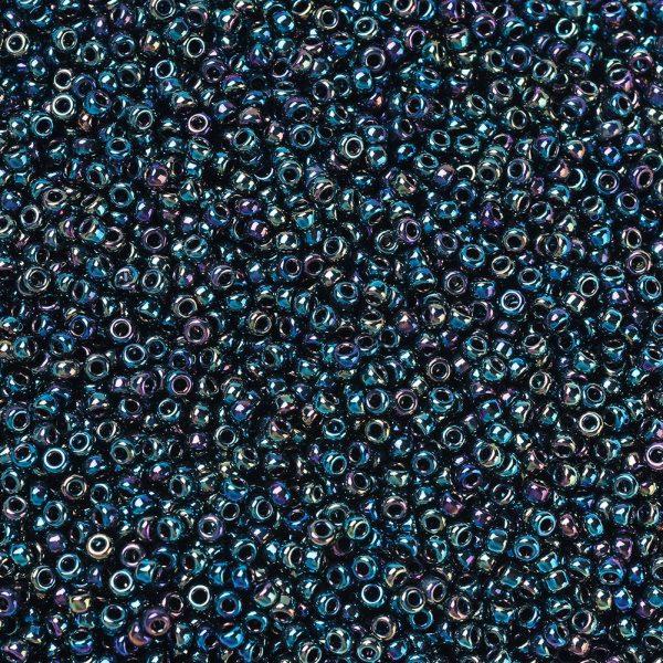 X SEED G007 RR0455 1 RR455 Metallic Variegated Blue Iris MIYUKI Round Rocailles Beads 11/0 (11-455), 2x1.3mm, Hole: 0.8mm; about 1111pcs/10g