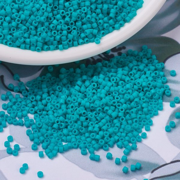 X SEED J020 DB0793 3 MIYUKI Delica Beads 11/0, (DB0793) Dyed Semi-Frosted Opaque Turquoise Green, 1.3x1.6mm, Hole: 0.8mm; about 2000pcs/10g