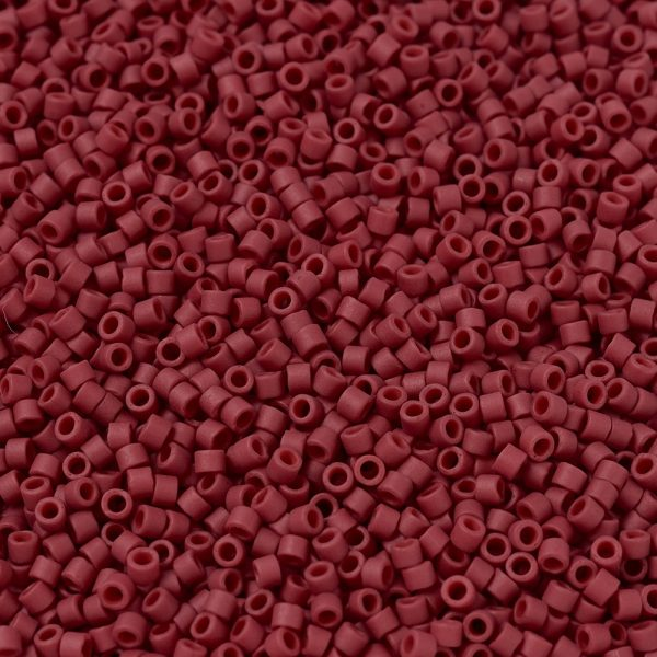 X SEED J020 DB0796 1 MIYUKI Delica Beads 11/0, (DB0796) Dyed Semi-Frosted Opaque Red, 1.3x1.6mm, Hole: 0.8mm; about 2000pcs/10g
