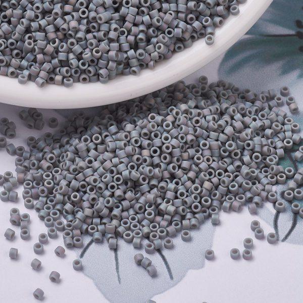 X SEED J020 DB0882 3 MIYUKI Delica Beads 11/0, (DB0882) Matte Opaque Gray AB, 1.3x1.6mm, Hole: 0.8mm; about 2000pcs/10g