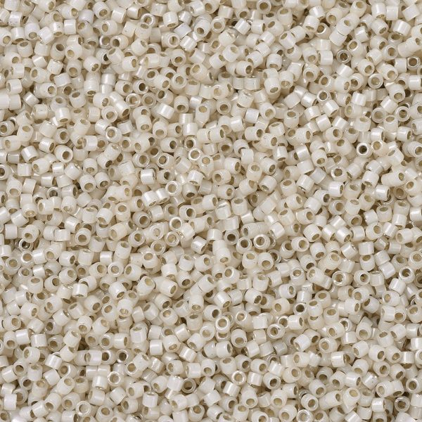 X SEED J020 DB1451 1 MIYUKI Delica Beads 11/0, (DB1451) Silver Lined Pale Cream Opal, 1.3x1.6mm, Hole: 0.8mm; about 2000pcs/10g