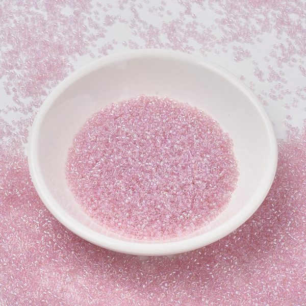X SEED J020 DB1673 MIYUKI Delica Beads 11/0, (DB1673) Pearl Lined Transparent Pink AB, 1.3x1.6mm, Hole: 0.8mm; about 2000pcs/10g