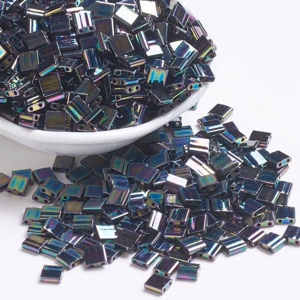 X SEED J020 TL455 1 TL455 Metallic Variegated Blue Iris MIYUKI TILA Beads 2-Hole, 5x5x1.9mm, Hole: 0.8mm; about 118pcs/10g