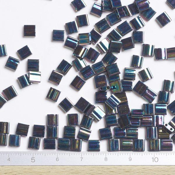 X SEED J020 TL455 2 TL455 Metallic Variegated Blue Iris MIYUKI TILA Beads 2-Hole, 5x5x1.9mm, Hole: 0.8mm; about 118pcs/10g