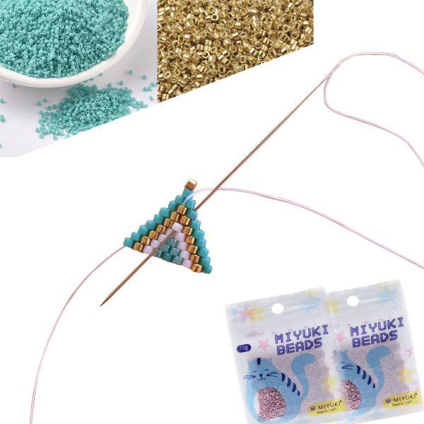 """alicebalice tuto brickstitch level 1 Big Eye Beading Needles Work with Miyuki & Toho Seed Beads, 0.3mm (1/64"""") Iron, 4 29/64 in (113mm), Set of 10"""