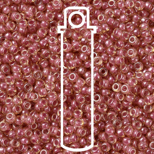SEED G007 RR0373 1 RR373 Dark Rose Lined Light Topaz Luster MIYUKI Round Rocailles Beads 11/0 (11-373), 2x1.3mm, Hole: 0.8mm; about 1100pcs/tube, 10g/tube