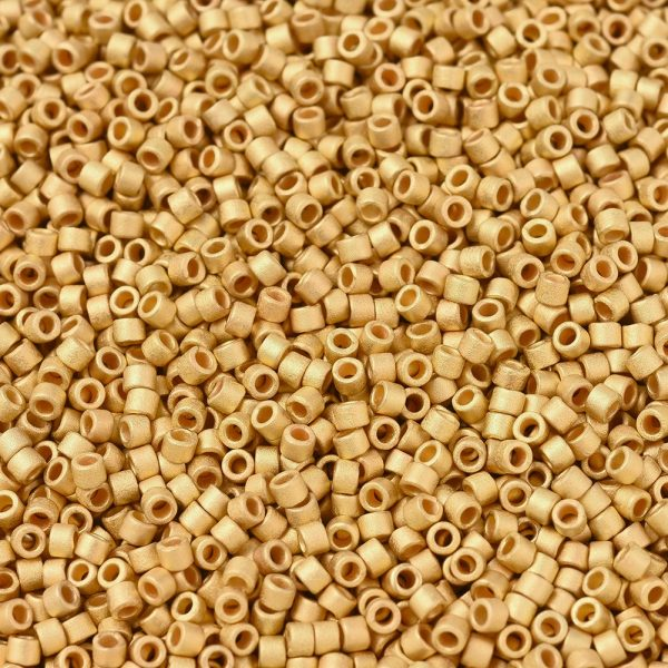SEED J020 DBS0331 1 0 MIYUKI DBS0331 Delica Beads 15/0 - Opaque Matte 24kt Gold Plated, 50g/bag