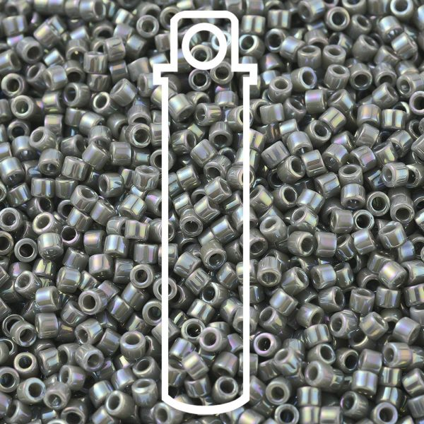 SEED JP0008 DB0168 1 DB0168 Opaque Gray AB MIYUKI Delica Beads 11/0, 1.3x1.6mm, Hole: 0.8mm; about 2000pcs/tube, 10g/tube
