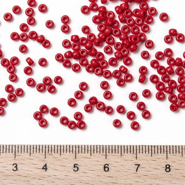 SEED JP0009 RR0408 2 RR408 Opaque Red MIYUKI Round Rocailles Beads 8/0 (8-408), 3mm, Hole: 1mm about 866pcs/tube, 10g/tube