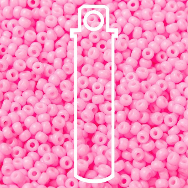 SEED JP0009 RR0415 1 RR415 Dyed Opaque Cotton Candy Pink MIYUKI Round Rocailles Beads 8/0 (8-415), 3mm, Hole: 1mm about 866pcs/tube, 10g/tube