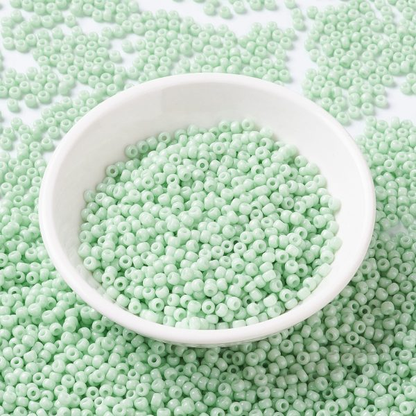SEED JP0009 RR3328 RR3328 Opaque Light Mint MIYUKI Round Rocailles Beads 8/0 (8-3328), 3mm, Hole: 1mm, about 866pcs/tube, 10g/tube