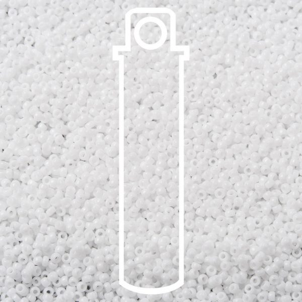 SEED JP0010 RR0402 1 RR402 White MIYUKI Round Rocailles Beads 15/0 (15-402), 1.5mm, Hole: 0.7mm; about 5555pcs/tube, 10g/tube