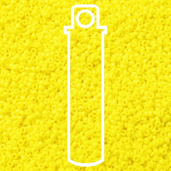 SEED JP0010 RR0404 1 RR404 Opaque Yellow MIYUKI Round Rocailles Beads 15/0 (15-404), 1.5mm, Hole: 0.7mm; about 5555pcs/tube, 10g/tube