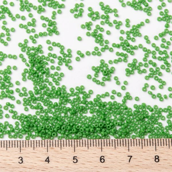 SEED JP0010 RR0411 2 RR411 Opaque Green MIYUKI Round Rocailles Beads 15/0 (15-411), 1.5mm, Hole: 0.7mm; about 5555pcs/tube, 10g/tube