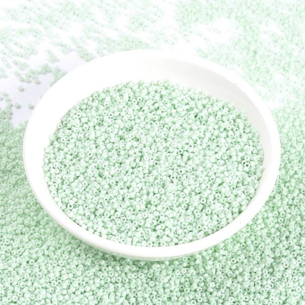 SEED X0056 RR3328 RR3328 Opaque Light Mint MIYUKI Round Rocailles Beads 15/0 (15-3328), 1.5mm, Hole: 0.7mm; about 27777pcs/50g