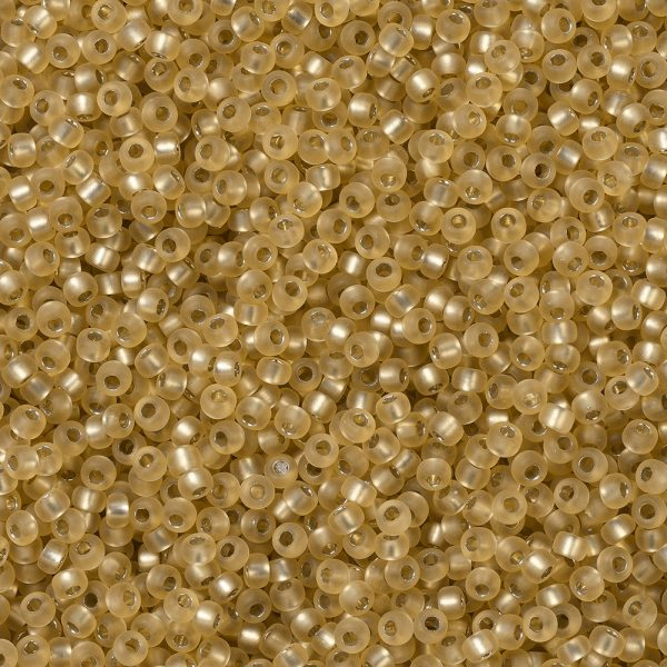 X SEED G007 RR1902 1 0 RR1902 Semi-Frosted Silver Lined Gold MIYUKI Round Rocailles Beads 11/0 (11-1902), 2x1.3mm, Hole: 0.8mm; about 50000pcs/pound (450g)