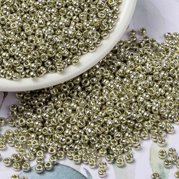 X SEED G008 RR4201 3 MIYUKI 8-4201 Round Rocailles Beads 8/0, RR4201 Transparent Duracoat Galvanized Silver, 10g/bag