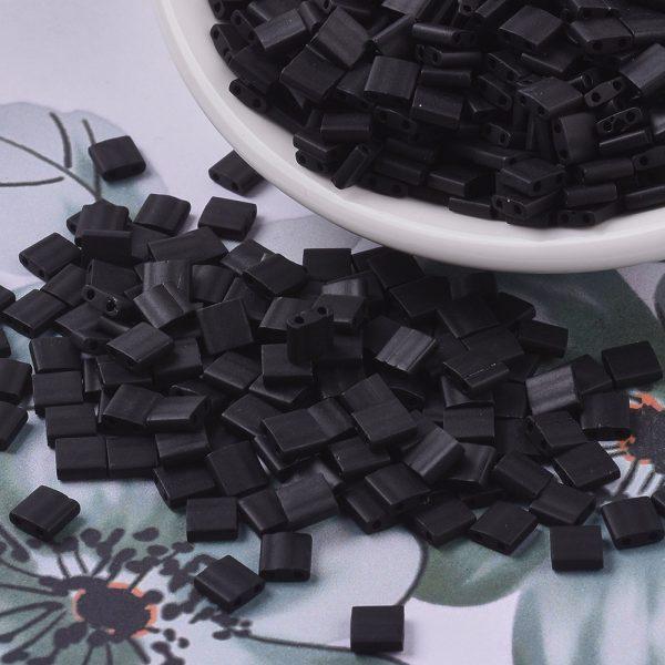 X SEED J020 TL0401F 3 MIYUKI TILA TL401F Matte Black Seed Beads, 100g/Bag