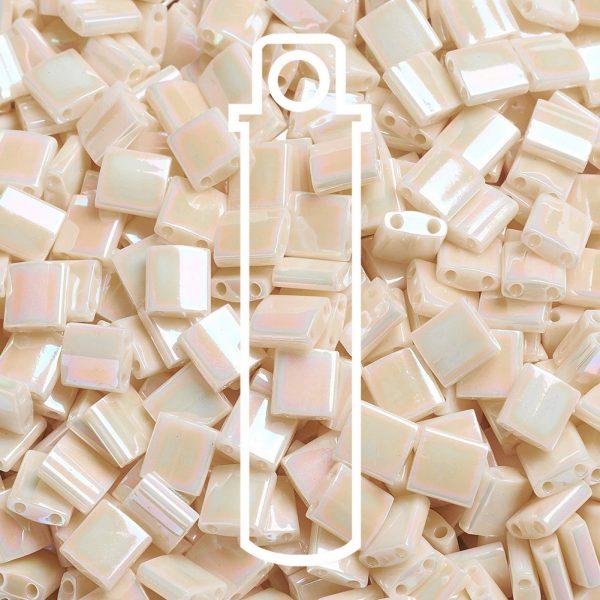 X SEED J020 TL0486 1 1 MIYUKI TILA TL486 Ivory Pearl Ceylon AB Seed Beads, 10g/Tube