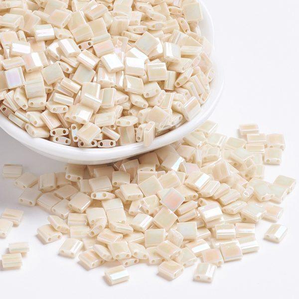 X SEED J020 TL0486 3 MIYUKI TILA TL486 Ivory Pearl Ceylon AB Seed Beads, 100g/Bag
