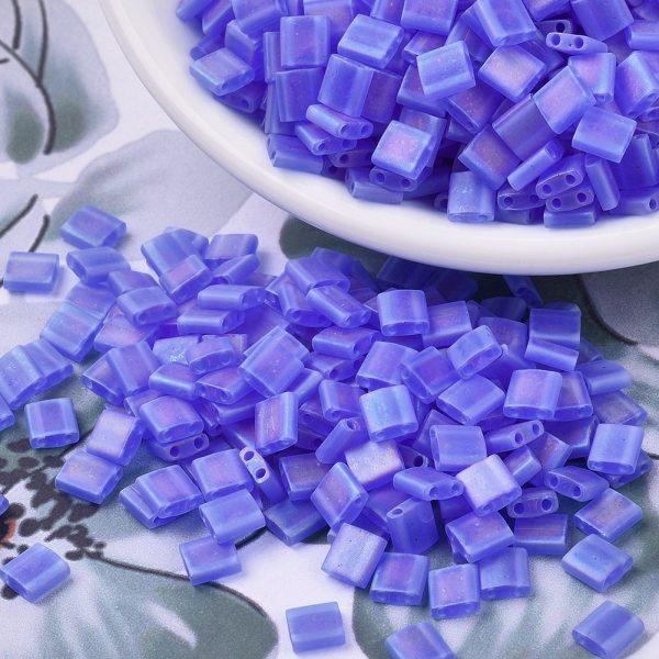 X SEED J020 TL150FR 3 MIYUKI TILA TL150FR Matte Transparent Sapphire Blue AB Seed Beads, 10g/Bag
