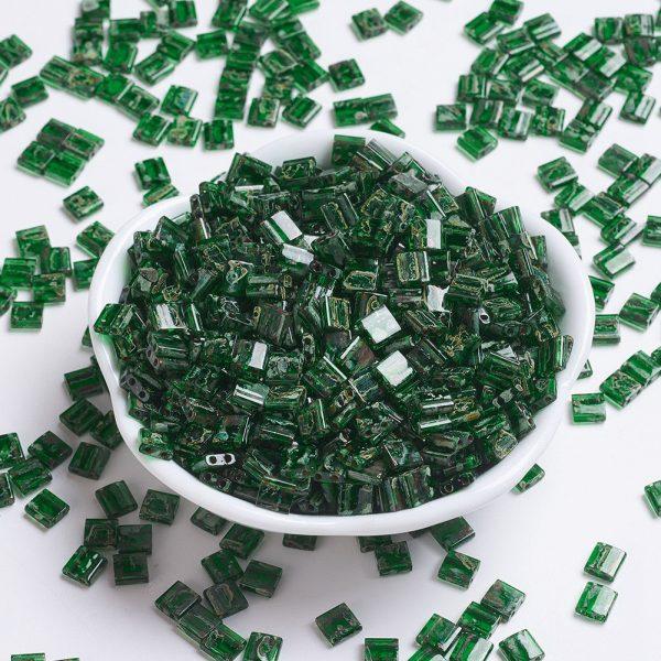 X SEED J020 TL4507 MIYUKI TILA TL4507 Transparent Green Picasso Seed Beads, 10g/Tube
