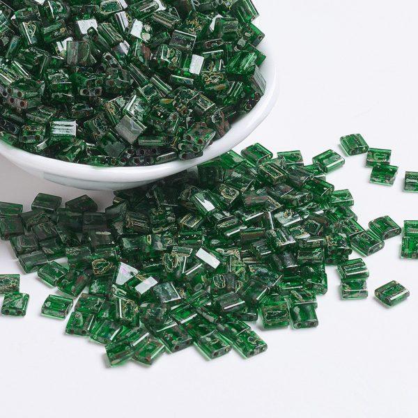 X SEED J020 TL4507 1 MIYUKI TILA TL4507 Transparent Green Picasso Seed Beads, 100g/Bag