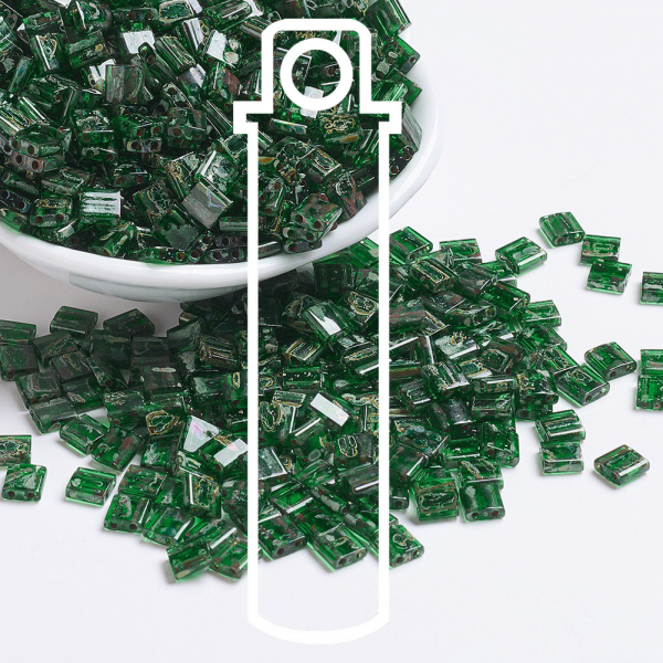 X SEED J020 TL4507 1 MIYUKI TILA TL4507 Transparent Green Picasso Seed Beads, 10g/Tube