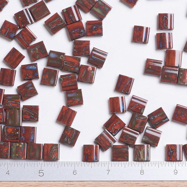 X SEED J020 TL4520 2 MIYUKI TILA TL4520 Opaque Orange Picasso Seed Beads, 10g/Tube